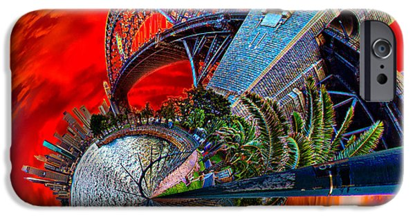 Business Digital Art iPhone Cases - Blazing Skies Over Sydney iPhone Case by Az Jackson