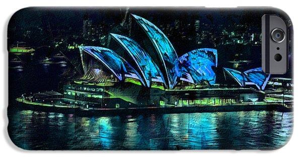 Buildings Mixed Media iPhone Cases - Sydney Opera House By Night iPhone Case by Georgiana Romanovna