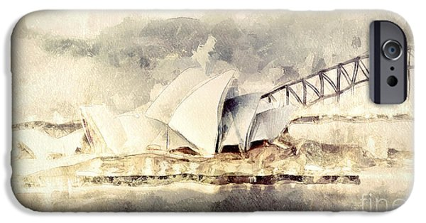 House Digital Art iPhone Cases - Sydney Opera House iPhone Case by Shanina Conway