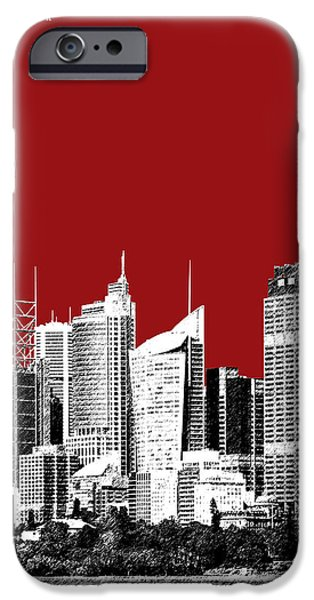 Pen And Ink iPhone Cases - Sydney Skyline 1 - Dark Red iPhone Case by DB Artist