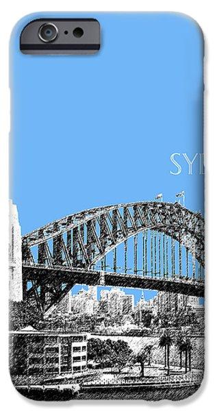 Pen And Ink iPhone Cases - Sydney Skyline 2 Harbor Bridge - Light Blue iPhone Case by DB Artist