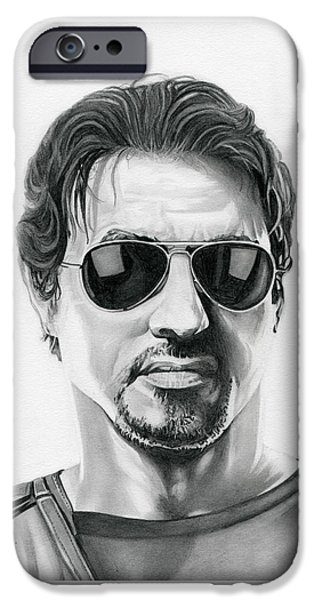 Sylvester Stallone iPhone Cases - Sylvester Stallone - The Expendables iPhone Case by Fred Larucci