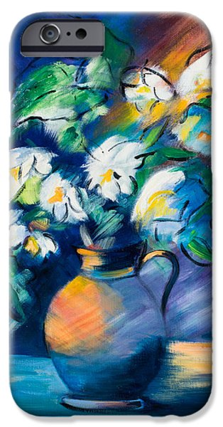 Bouquet iPhone Cases - Symphony in Blue iPhone Case by Elise Palmigiani