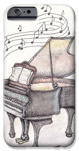 Grand Piano Paintings iPhone Cases - Symphony iPhone Case by Theresa Stinnett