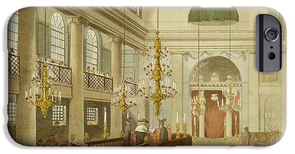 Religious Drawings iPhone Cases - Synagogue at Dukes Place in Houndsditch iPhone Case by Pugin And Rowlandson