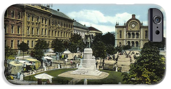 Postkarte iPhone Cases - Synagogue Pecs Hungary 1915 iPhone Case by Vintage Printery