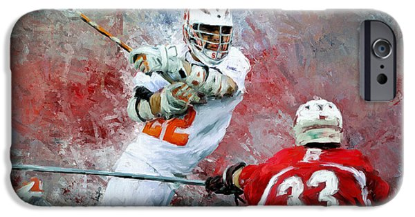 Scott Melby iPhone Cases - College Lacrosse 5 iPhone Case by Scott Melby