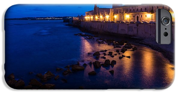 Night Lamp iPhone Cases - Syracuse Sicily Blue Hour - Ortygia Evening Mood iPhone Case by Georgia Mizuleva
