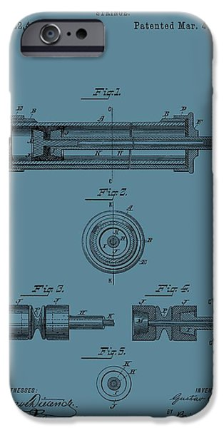 Flu iPhone Cases - Syringe Patent Drawing Blue iPhone Case by Dan Sproul