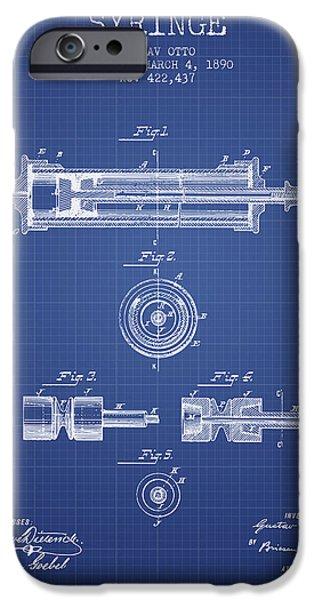 Syringe iPhone Cases - Syringe Patent from 1890 - Blueprint iPhone Case by Aged Pixel