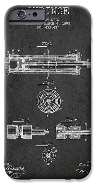 Syringe iPhone Cases - Syringe Patent from 1890 - Dark iPhone Case by Aged Pixel