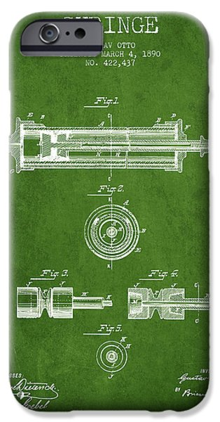 Syringe iPhone Cases - Syringe Patent from 1890 - Green iPhone Case by Aged Pixel