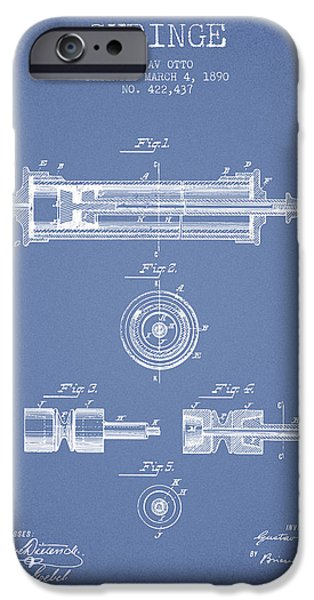 Syringe iPhone Cases - Syringe Patent from 1890 - Light Blue iPhone Case by Aged Pixel