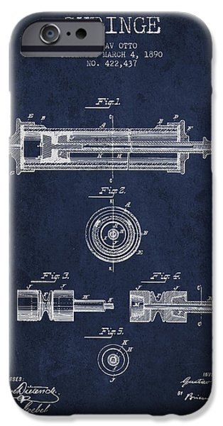 Syringe iPhone Cases - Syringe Patent from 1890 - Navy Blue iPhone Case by Aged Pixel