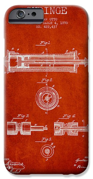Syringe iPhone Cases - Syringe Patent from 1890 - Red iPhone Case by Aged Pixel