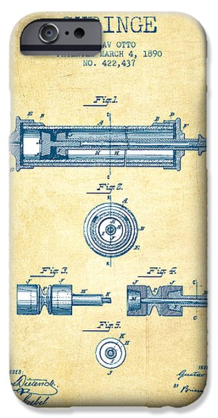 Syringe iPhone Cases - Syringe Patent from 1890 - Vintage Paper iPhone Case by Aged Pixel