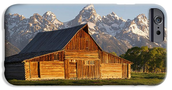 Snowy Day iPhone Cases - T. A. Moulton Barn and the Tetons iPhone Case by Aaron Spong