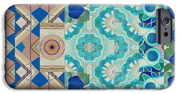 Asymmetrical Mixed Media iPhone Cases - T J O D Mandala Series Puzzle 5-3 Inverted iPhone Case by Helena Tiainen