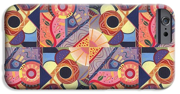 Full Spectrum Mixed Media iPhone Cases - T J O D Tile Variations 18 iPhone Case by Helena Tiainen