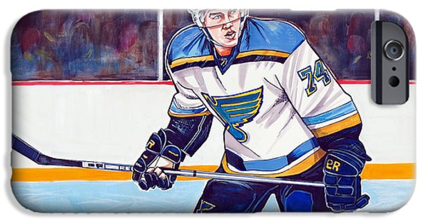 Hockey Drawings iPhone Cases - T. J. Oshie iPhone Case by Dave Olsen