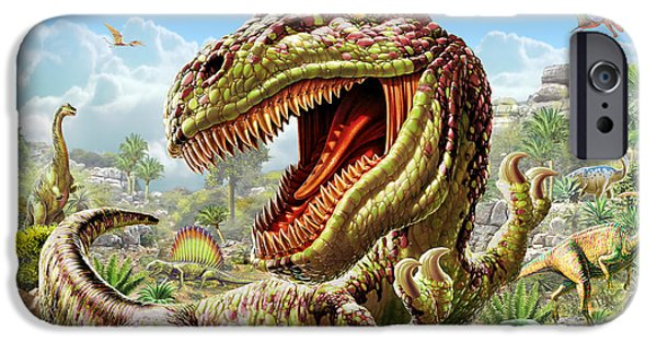 Extinct iPhone Cases - T-Rex and Dinosaurs iPhone Case by Adrian Chesterman