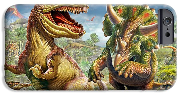 T Rex iPhone Cases - T-Rex and Triceratops iPhone Case by Adrian Chesterman