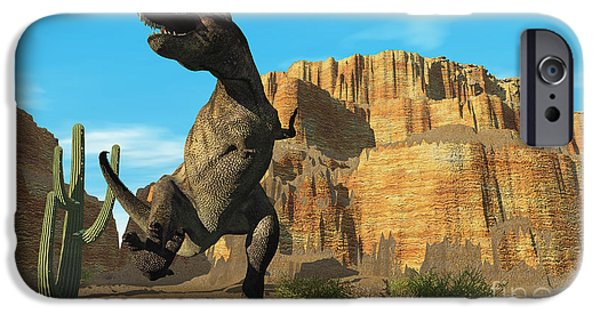 T Rex iPhone Cases - T-Rex iPhone Case by Corey Ford