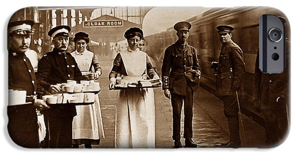 Ww1 iPhone Cases - The Red Cross and St. Johns Ambulance Brigade during WW1 England iPhone Case by The Keasbury-Gordon Photograph Archive