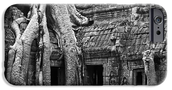 Tree Roots iPhone Cases - Ta Prohm Roots And Stone 01 iPhone Case by Rick Piper Photography