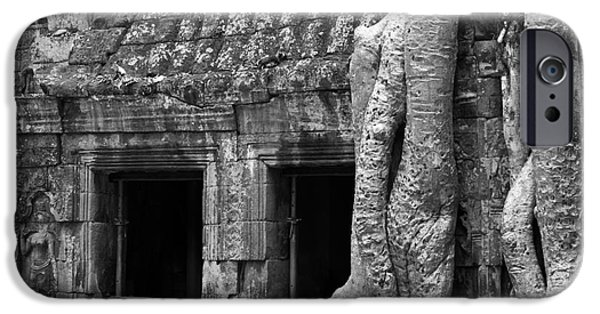 Tree Roots iPhone Cases - Ta Prohm Roots And Stone 02 iPhone Case by Rick Piper Photography
