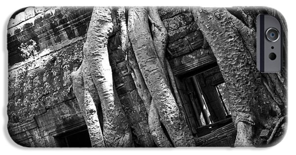 Tree Roots iPhone Cases - Ta Prohm Roots And Stone 03 iPhone Case by Rick Piper Photography