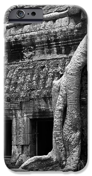 Tree Roots iPhone Cases - Ta Prohm Roots And Stone 05 iPhone Case by Rick Piper Photography