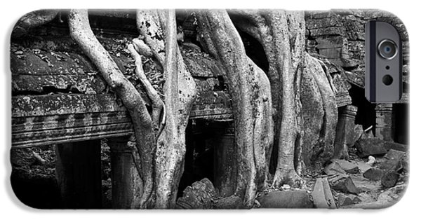 Tree Roots iPhone Cases - Ta Prohm Roots And Stone 13 iPhone Case by Rick Piper Photography
