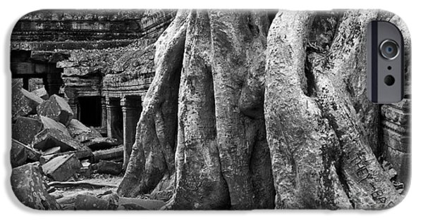 Tree Roots iPhone Cases - Ta Prohm Roots And Stone 14 iPhone Case by Rick Piper Photography
