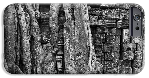 Tree Roots iPhone Cases - Ta Prohm Roots And Stone 16 iPhone Case by Rick Piper Photography