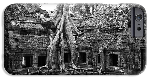 Tree Roots iPhone Cases - Ta Prohm Temple 01 iPhone Case by Rick Piper Photography