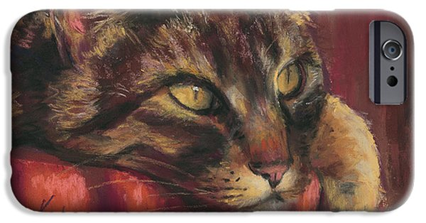 Close Pastels iPhone Cases - Tabby Nap iPhone Case by Billie Colson