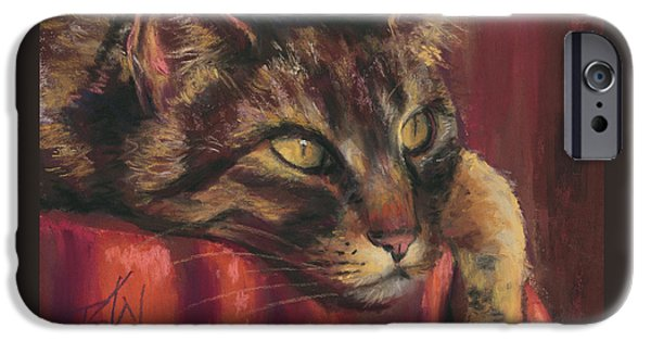 Close Up Pastels iPhone Cases - Tabby Nap iPhone Case by Billie Colson