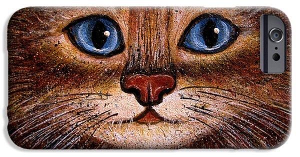 House Pet Paintings iPhone Cases - Tabby iPhone Case by Natalie Holland