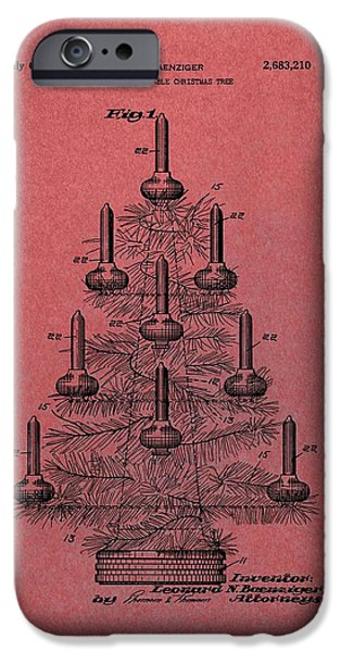 Christmas Eve iPhone Cases - Table Christmas Tree Patent Red iPhone Case by Dan Sproul