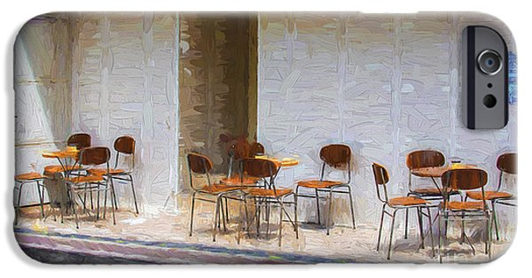 Empty Chairs iPhone Cases - Table for four iPhone Case by Sheila Smart
