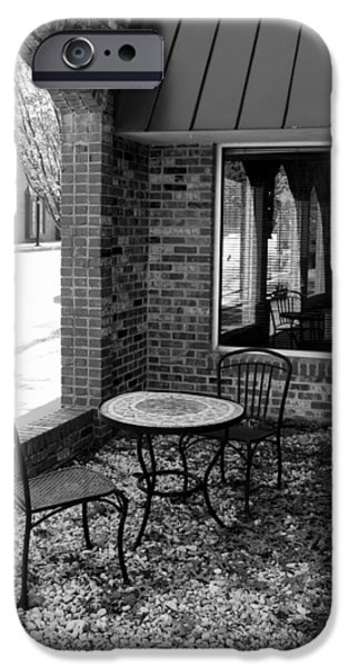 Patio Table And Chairs iPhone Cases - Table for Two bw iPhone Case by Elizabeth Sullivan