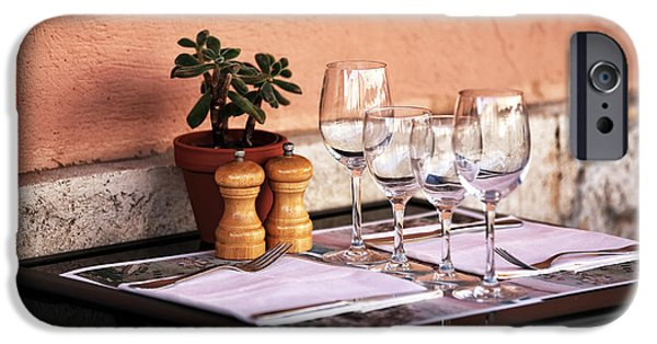 Table Wine iPhone Cases - Table for Two in Marseille iPhone Case by John Rizzuto