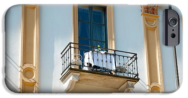 Balcony iPhone Cases - Table For Two On Balcony Of Room iPhone Case by Panoramic Images