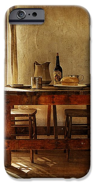 Wine Bottles iPhone Cases - Table For Two iPhone Case by Priscilla Burgers