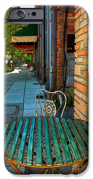 Table Wine Digital iPhone Cases - Table On A Sidewalk iPhone Case by James Eddy