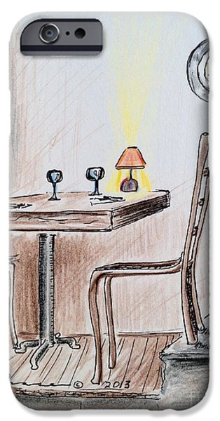 Table Wine Drawings iPhone Cases - Table on the Landing iPhone Case by Barbara Chase