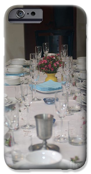 Psi iPhone Cases - Table set for a Jewish Festive meal iPhone Case by Ilan Rosen