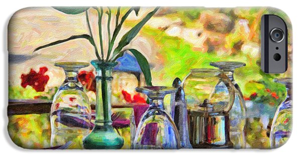 Glass Table Reflection iPhone Cases - Table Setting Reflections iPhone Case by Jack Schultz