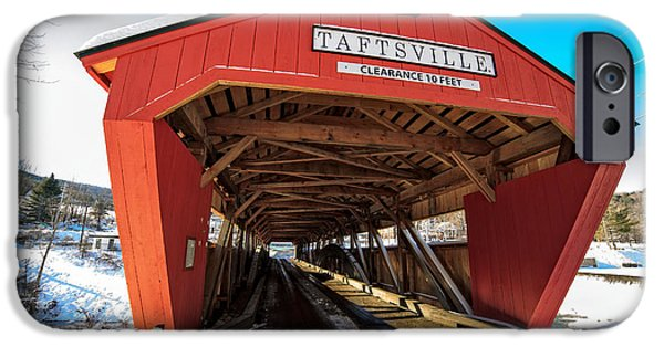 Quechee iPhone Cases - Taftsville Covered Bridge in Vermont in winter iPhone Case by Edward Fielding